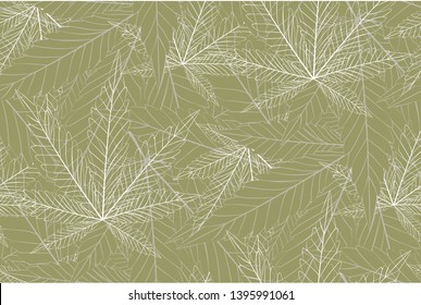 Cannabis leaf pattern seamless marijuana leaves on autumn season for wrapping, wallpaper, ceramic, craft, textile, fabric