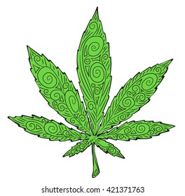 Cannabis leaf with the pattern vector