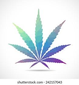 Cannabis leaf, polygon illustration