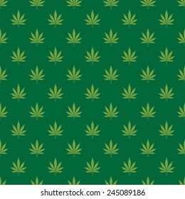 Cannabis leaf seamless background pattern - Vector
