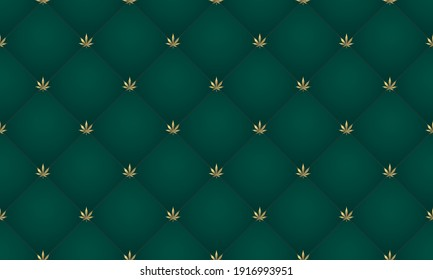 Cannabis-Blatt Nahtlose Muster. Grüner abstrakter Polsterhintergrund mit goldenen Marihuana-Blätterknöpfen. Royal Vintage Sofa Textur. Elegantes Luxus-Template. 3D-Vektorhintergrund