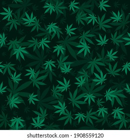 Cannabis leaf Seamless pattern. medicine Marijuana textre. Medical cannabis sign. Legalize symbol. Deep 3d effect dark vector background for fabric textile, wrapping paper, banner for web site.