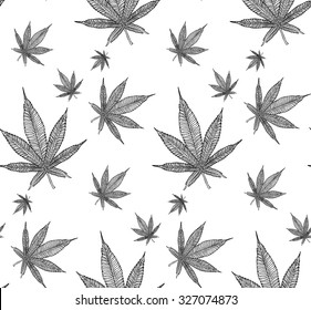 Cannabis Leaf seamless pattern on white background. Cloth & rug design. Black & White style backdrop. Vector line art.