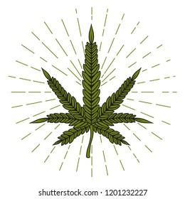 Cannabis leaf sign. Vector illustration.