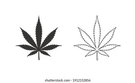 Cannabis leaf vector icon. Marijuana legalize symbol. Medicine cannabis linear silhouette sign, herbal nature organic plant. Hash, ganja cbd rasta indica sativa logo. Flat design isolated on white.