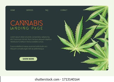 Cannabis leaf vector illustration.  Weed landing page web design. Marijuana hemp medicine. Legalize it medical legal drug. Herb natural flat symbol. Landing page design. Green plant.