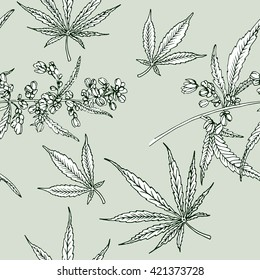 Cannabis leaf vector seamless pattern