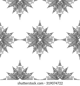 Cannabis Leaf & Vintage Ribbon seamless pattern on white background. Cloth & rug design. Black & White style vector backdrop. Hand drawn vintage illustration. Boho Style texture. Vector line art.