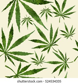 Cannabis leafs seamless pattern. Vector image. Watercolor paper backdrop.