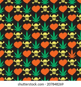 Cannabis leafs with skulls and hearts - seamless pattern