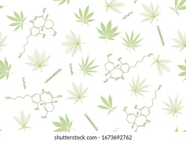 Cannabis leaves and cbd, cannabidiol formula seamless pattern, background. Vector illustration in green colors. Isolated on white background.