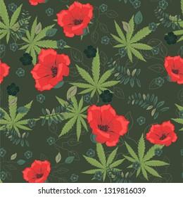Cannabis leaves with flowers pattern. Marijuana and flowers pattern. Cannabis pattern. Vector illustration.