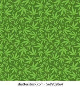Cannabis leaves on green background -  seamless pattern.
