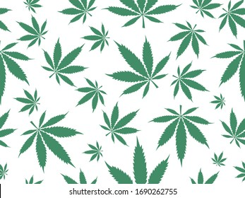 Cannabis leaves pattern background. Marijuana vector seamless pattern engraving plant illustration