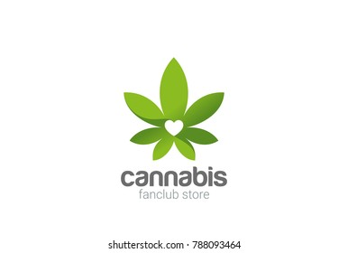 Cannabis Leaves Plant Shop Logo design vector template.