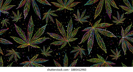 Cannabis Leaves. Seamless Pattern for your design. Vector illustration