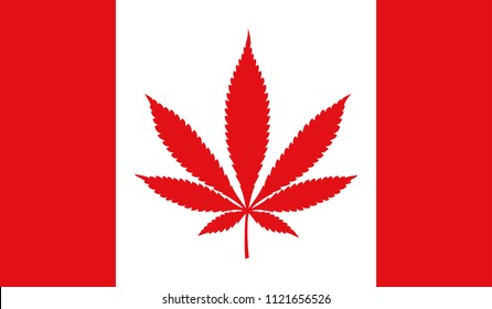 Cannabis legalization in Canada concept with a Cannabis icon flag.