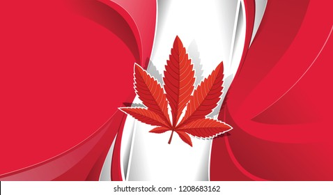 Cannabis legalization in Canada concept with a Marijuana icon flag. vector illustration.