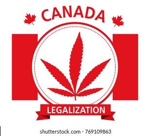 cannabis legalization canada emblem vector logo