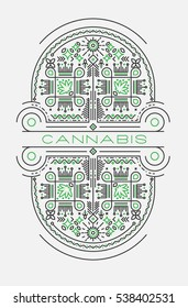 Cannabis line art illustration with decorative elements