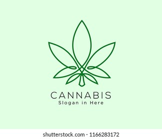 cannabis line art logo