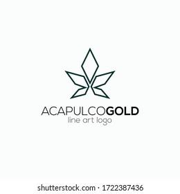 Cannabis line art logo design inspiration