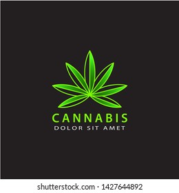 cannabis logo template design vector with isolated background
