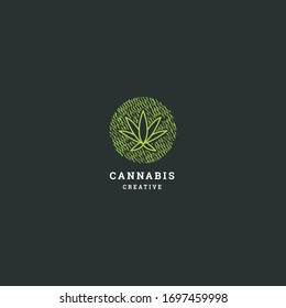 Cannabis logo template design in Vector illustration