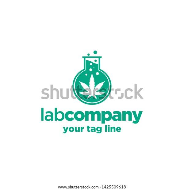 Cannabis Logo Template Labs Organic Nature Stock Vector