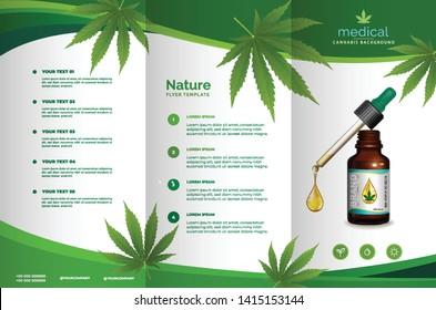 Cannabis or marijauna medical bottle oil Brochure desing. vector illustration.