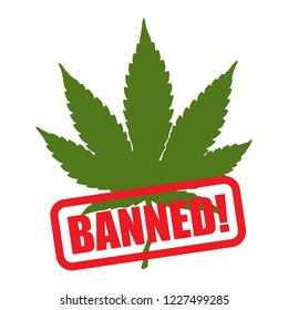 Cannabis or marijuana, banned or not usig cannabis concept. Line vector. Isolate on white background.