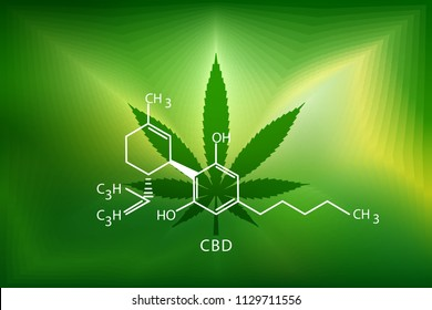cannabis marijuana in the defocus with the image of the formula CBD. Concepts of using marihuna for medicinal purposes for, Medical use of non-psychoactive cannabidiol CBD medical.