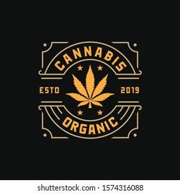 Cannabis, Marijuana, Elegant Vintage Badge Label Gold Logo design inspiration