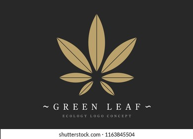 Cannabis marijuana hemp green leaf flat symbol or logo design. Cannabis green silhouette ecology logo. Hemp emblem for the logo design packaging of goods, food, for the creation of printed products
