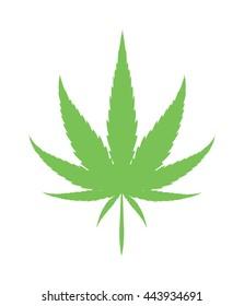 Cannabis marijuana hemp leaf flat icon vector green medicine weed vector herb
