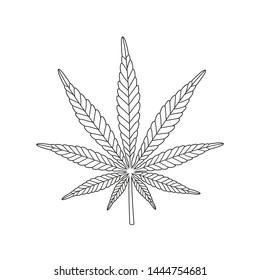 Cannabis marijuana hemp outline. Isolated hemp on white background