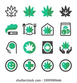 cannabis and marijuana icon set,vector and illustration