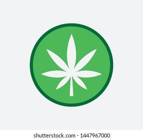 Cannabis marijuana icon vector logo template