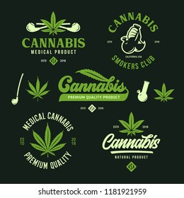 Cannabis marijuana labels emblems badges set. Hemp related prints, signs, typography, logotype templates. Logos. Vector vintage illustration.