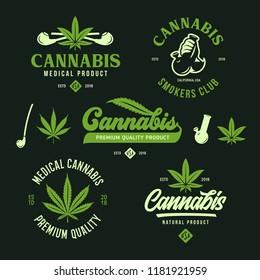 Cannabis marijuana labels emblems badges set. Hemp related prints, signs, typography, logotype templates. Logos. Vector vintage illustration.