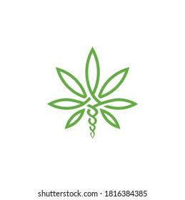 Cannabis Marijuana Leaf with Asclepius Snake logo design for Hemp CBD business
