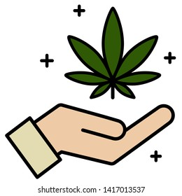 Cannabis, marijuana leaf in hand icon. Icon product label and logo graphic template. Isolated vector illustration on white background.