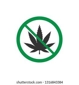 Cannabis marijuana leaf icon, no drug sign. Vector illustration, flat design.