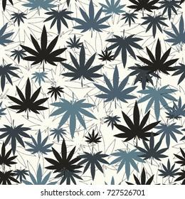 Cannabis or marijuana leaves seamless pattern. Vector illustration.