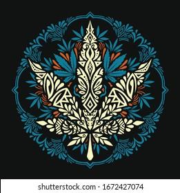 Cannabis Marijuana Mandala Pattern Vector