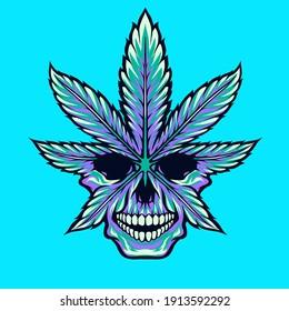 cannabis marijuana weed skull vector