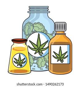cannabis martihuana medical marijuana medicine sativa hemp oil bottles cartoon vector illustration graphic design