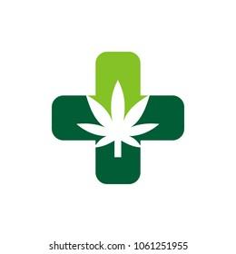 Cannabis for medical logo vector. Marijuana icon. Weed and Hemp Symbol.