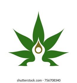 cannabis and meditation symbol vector logo.