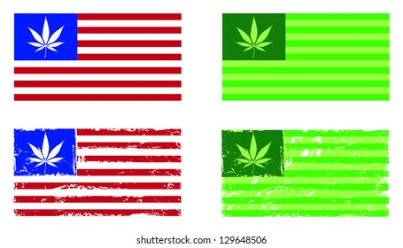Cannabis nation, flags based on the US flag, with and without grunge.